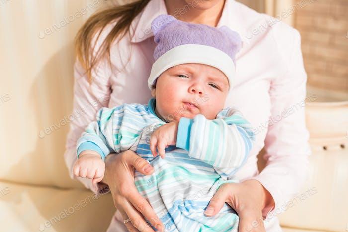 Cute baby boy, closeup portrait of adorable child