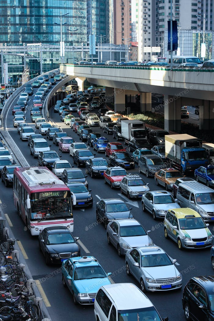 automobile congestion in rush hour