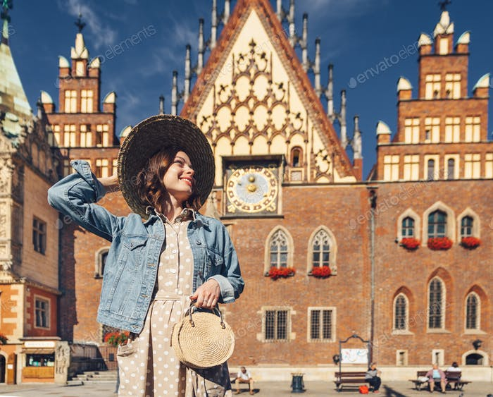 Smiling young woman in Poland