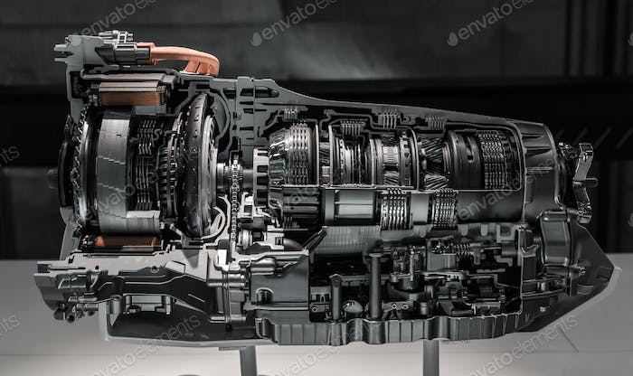 Automatic transmission gearbox in cross section