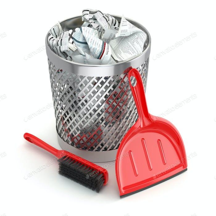 Reinigungskonzept.Mülltonne, Kehrschaufel oder Schaufel und Pinsel.