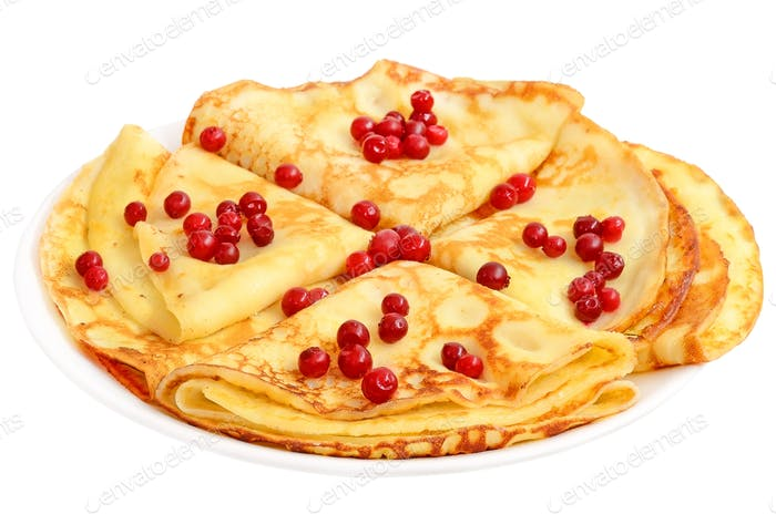 Pancakes with cowberry berries