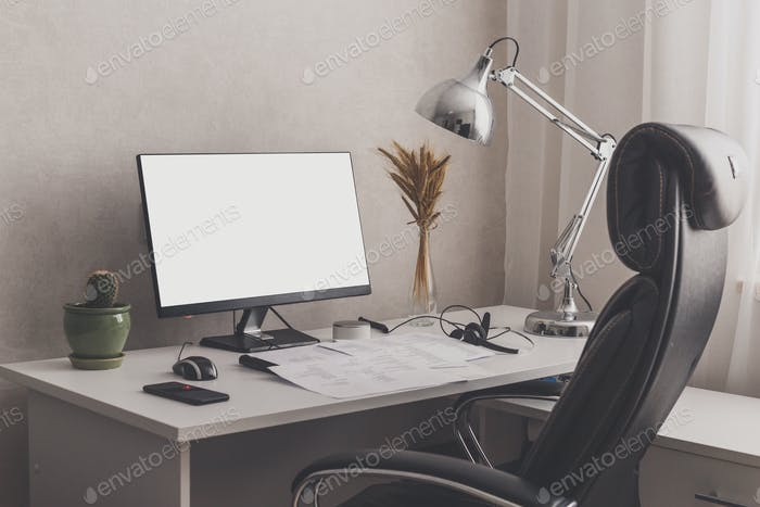 Modern stylish home office workplace. White, black and chrome colors