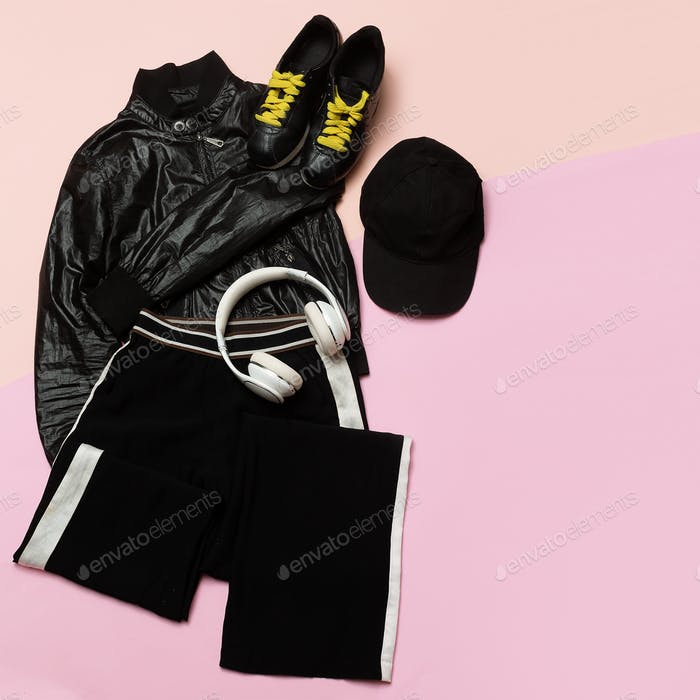 Hipster Outfit for girl. Stylish black clothes and bright access
