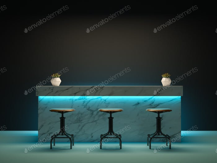 Interior room with bar counter 3D rendering