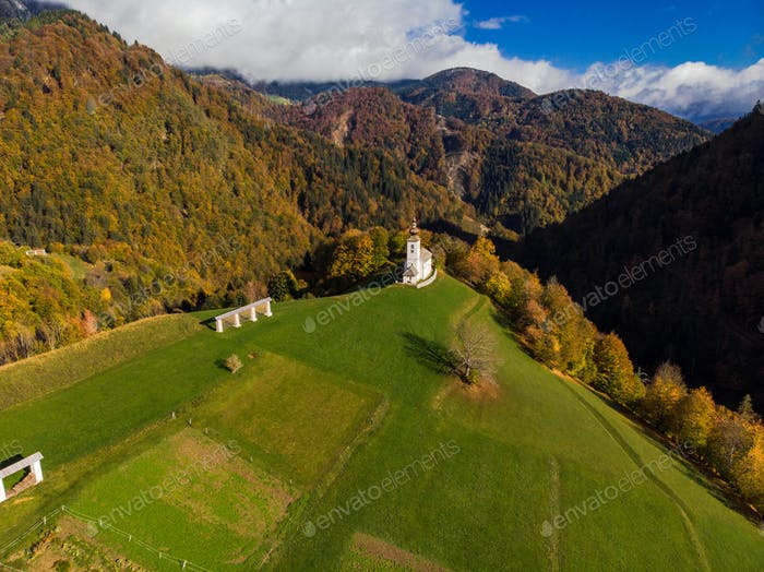 Sv. Marko chapel in Lower Danje, Slovenia , aerial drone view