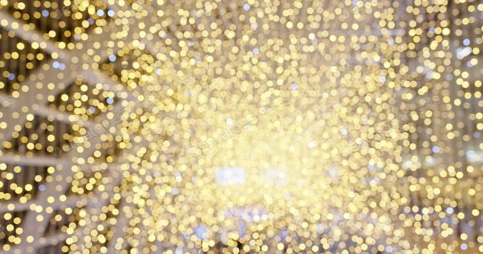 Bokeh of golden shiny Christmas