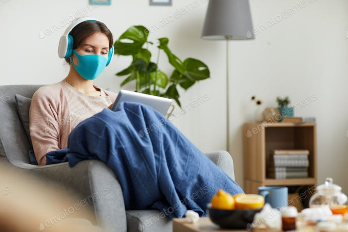 Woman with tablet pc stay at home