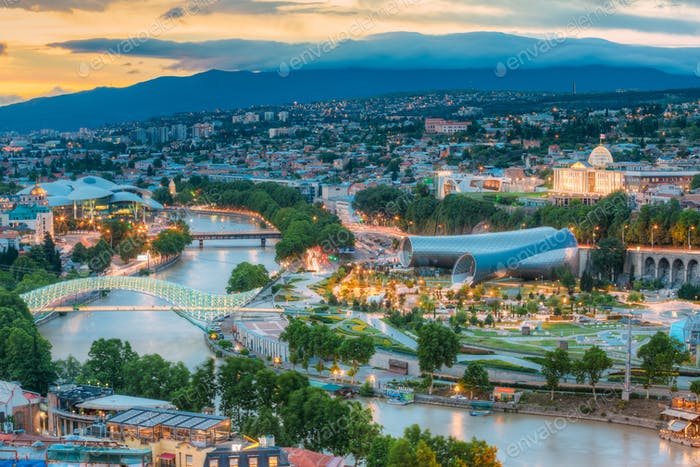 Scenic Top View Of Tbilisi Georgia, Famous Landmarks In Evening