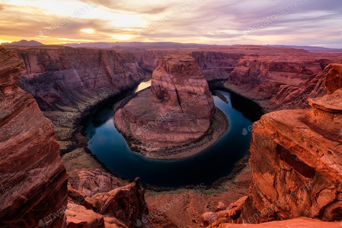 Sunset landscape view of Horseshoe bend and Colorado river