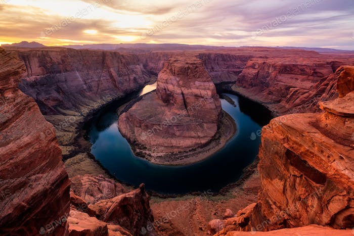 Thumbnail for Sunset landscape view of Horseshoe bend and Colorado river