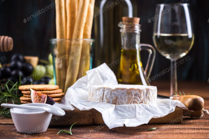 Round piece of camembert cheese