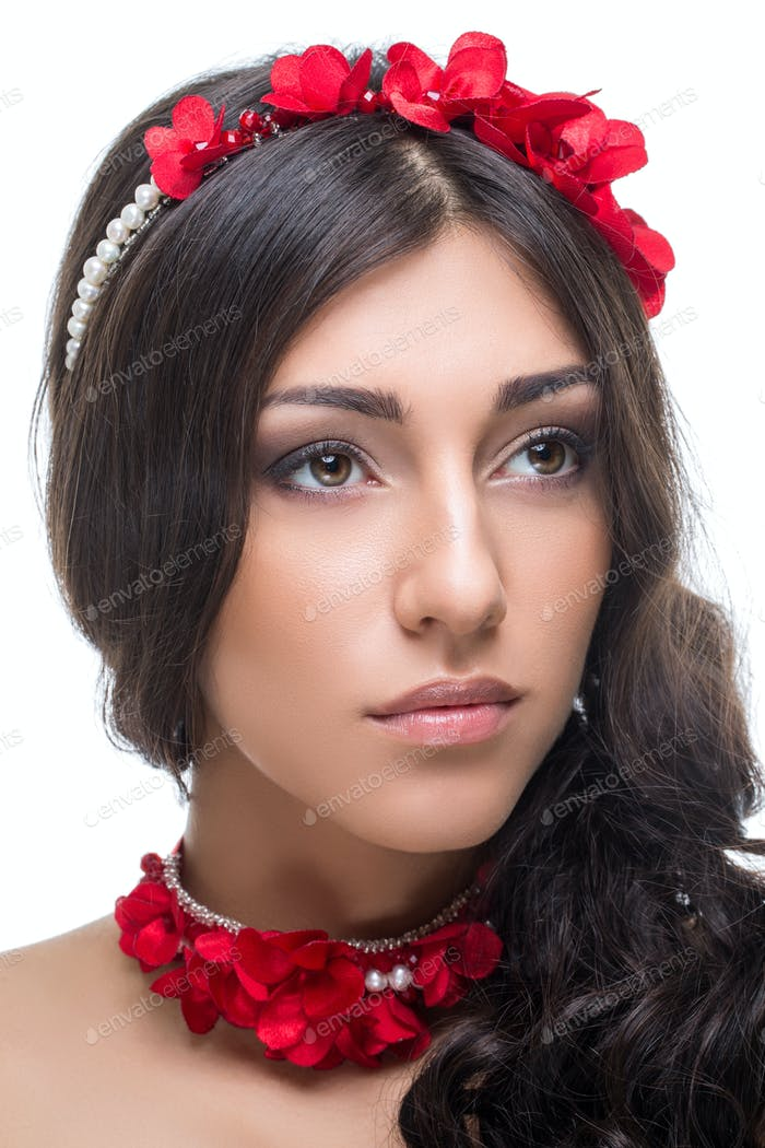 beautiful girl with red ribbon accessories