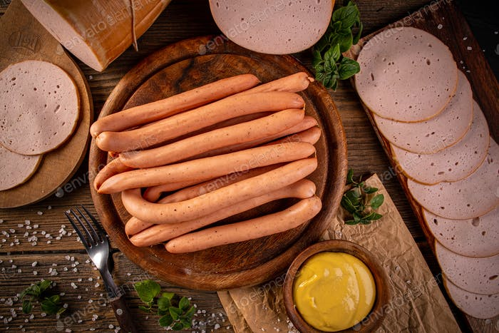 Flat lay shot of Frankfurter sausages