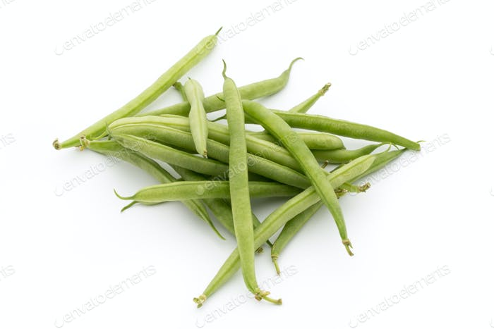 Green beans isolated on a white background.