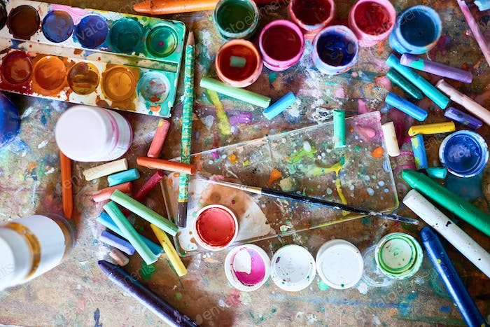 Art Supplies on Wooden Table