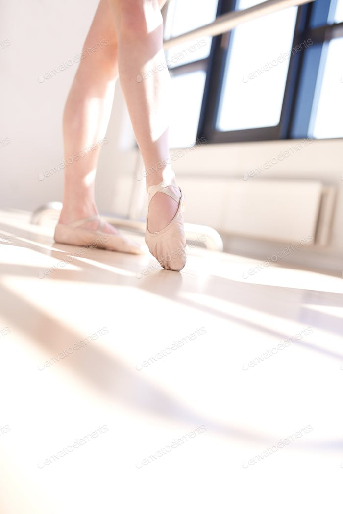 Low Angle View of Ballerina Doing Barre Exercises