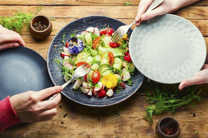 Ensalada de verduras saludables, alimentos saludables