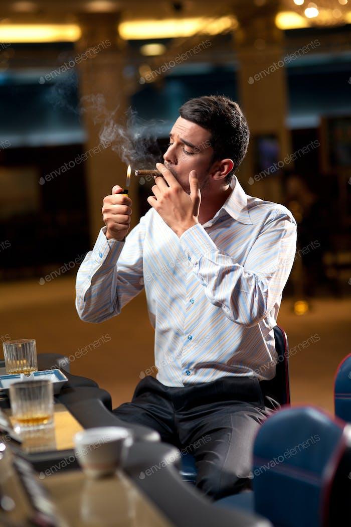 casino player smoking