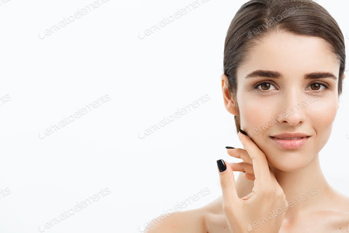 Beauty Youth Skin Care Concept - Close up Beautiful Caucasian Woman Face Portrait. Beautiful Spa