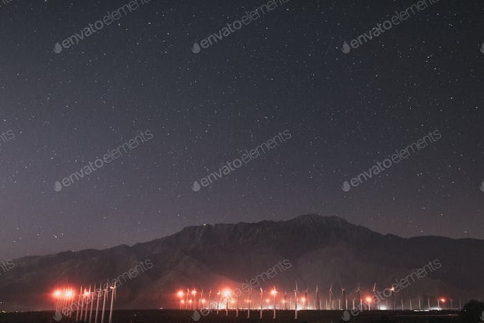 Wind turbines in the Palm Springs desert at night, USA