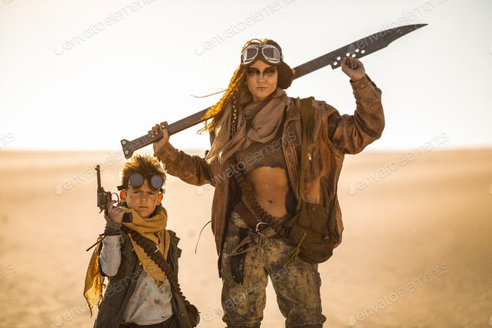 Post-apocalyptic Woman and Boy Outdoors in a Wasteland