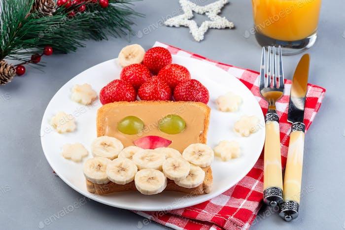Christmas menu for kids with Santa sandwich