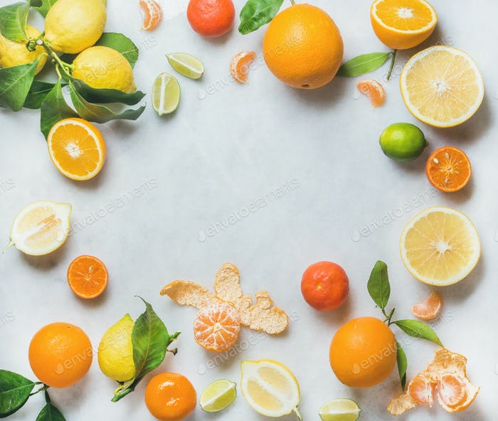 Variety of fresh citrus fruit, healthy eating concept