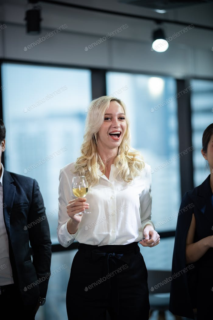 Business partners toast champagne company event celebration success
