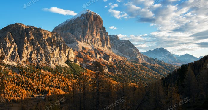 Autumn fairytale in the Dolomites mountains landscape