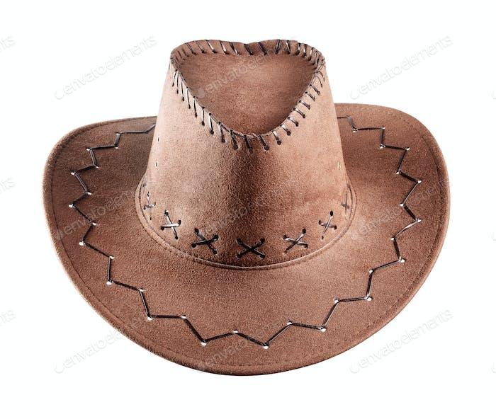 Der braune Cowboy-Hut aus Leder