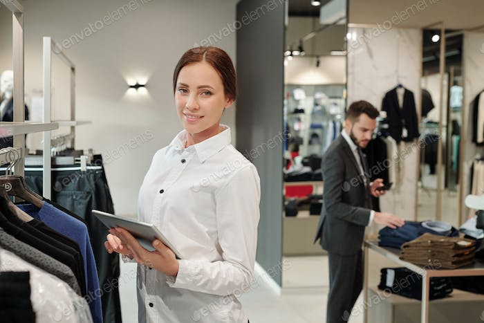 Checking receiving merchandise in clothes shop
