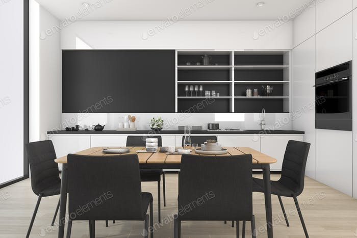 3d rendering black and white loft dining room and kitchen