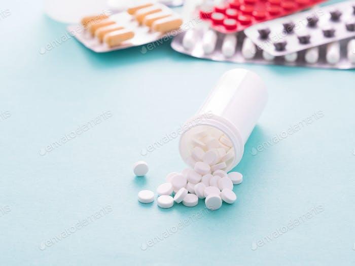 medicine bottles and pills