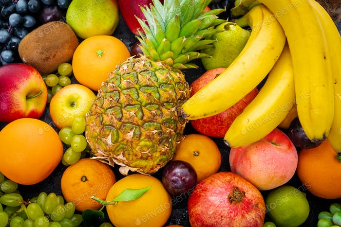 Organic food background. different fruits