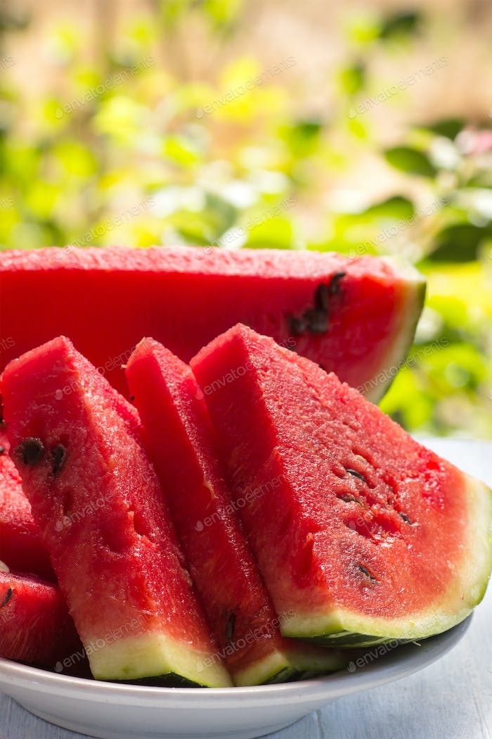 Ripe sliced watermelon closeup