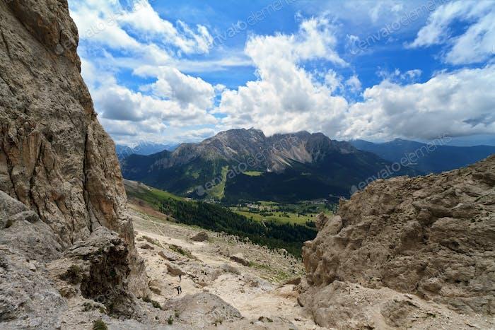 Carezza valley from Vaiolon pass