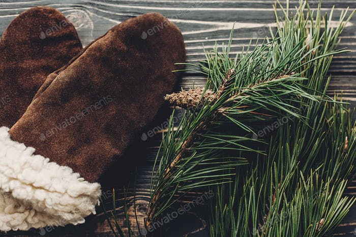 warm cozy gloves on rustic background with fir green branches