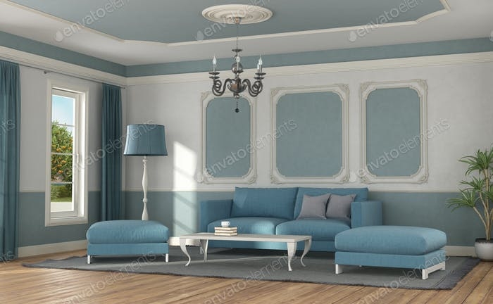 Modern sofa in a room in classic style