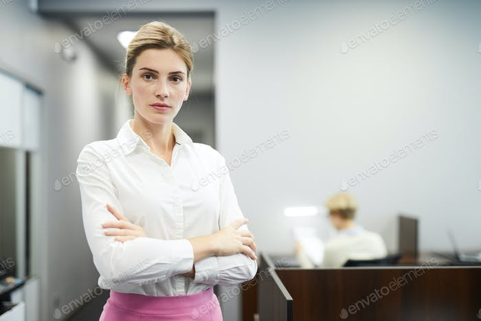 Woman in conference hall