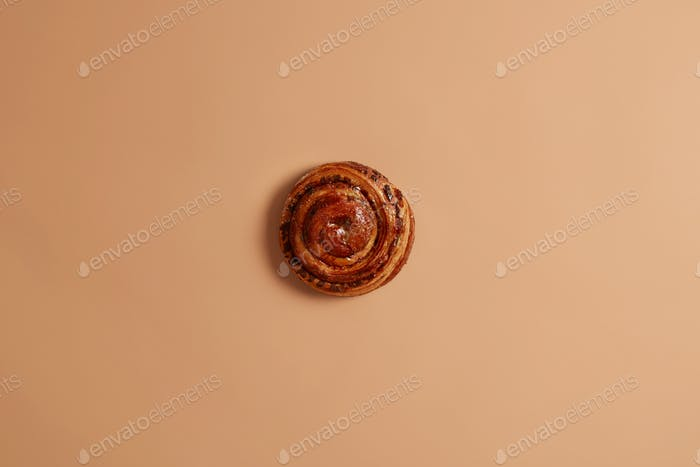 Sweet yummy freshly baked swirling cinnamon bun for your snack or breakfast. Appetizing unhealthy pu