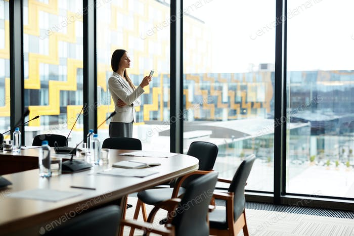 Businesswoman Alone in Office