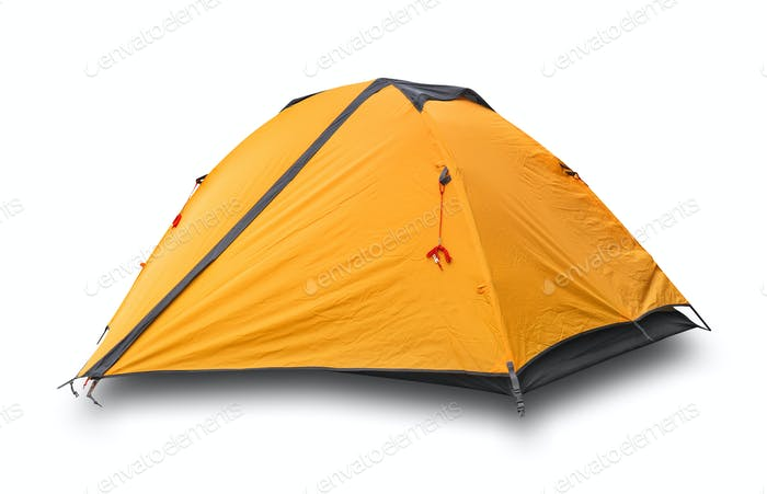 Orange closed tourist tent