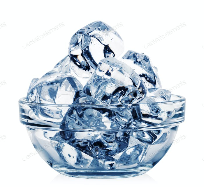 Transparent bowl with ice cubes toned in blue