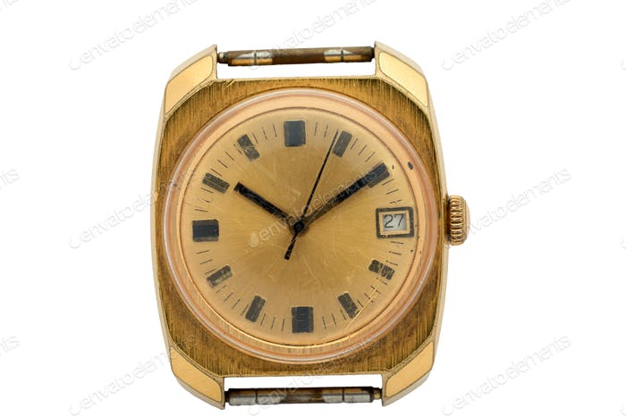 Gold watch without Arabic numerals on the dial. Isolated over white background.
