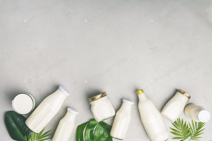 Various bottles of milk and tropical leaves