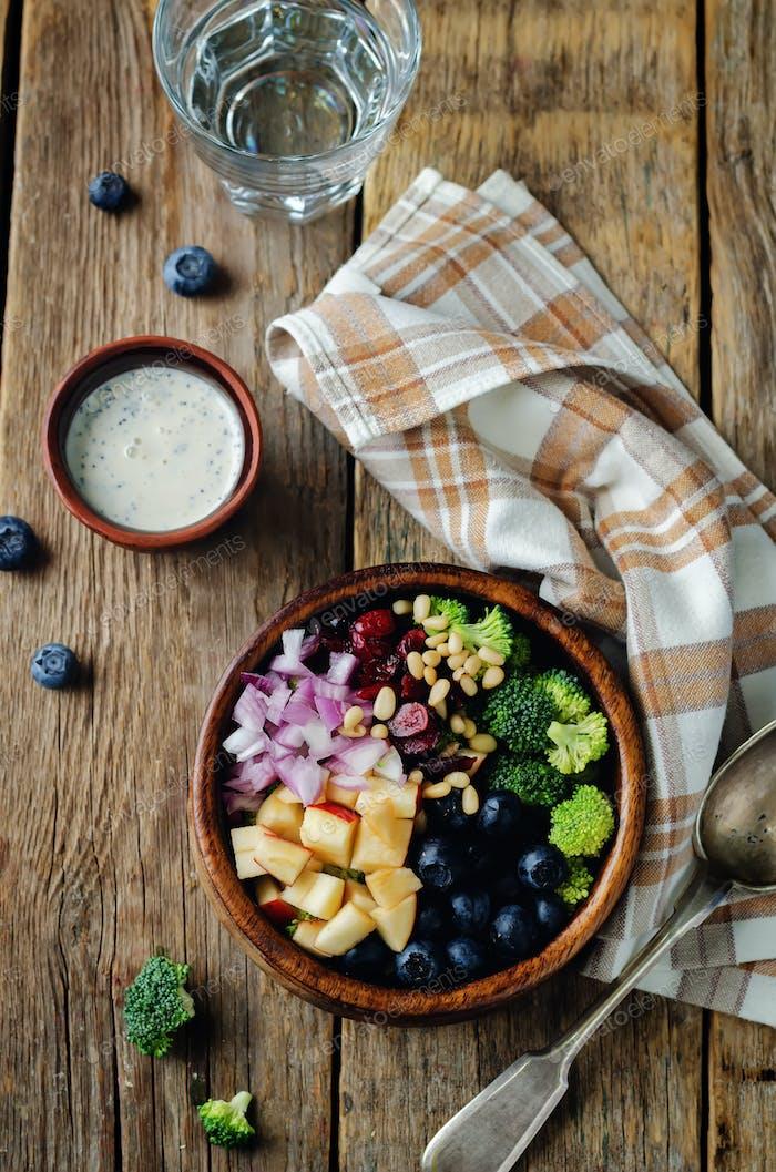 Broccoli blueberry apple salad with greek yogurt poppy seeds dressing