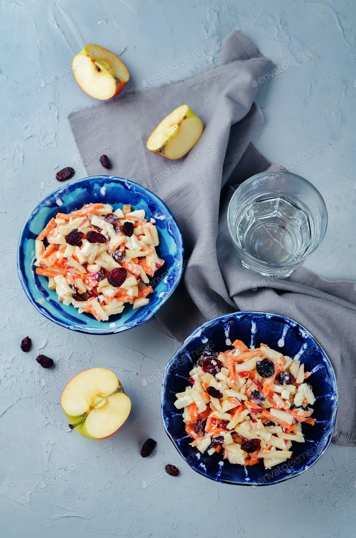 Carrot apple dried cranberries slaw
