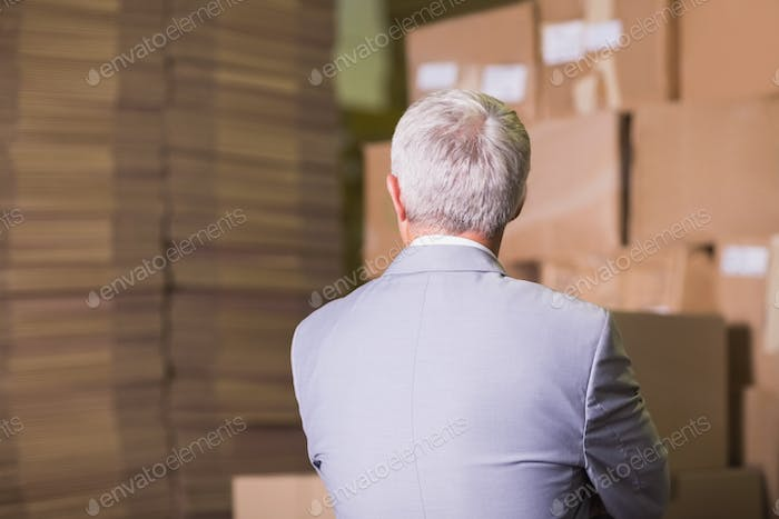 Rear view of manager standing in the warehouse