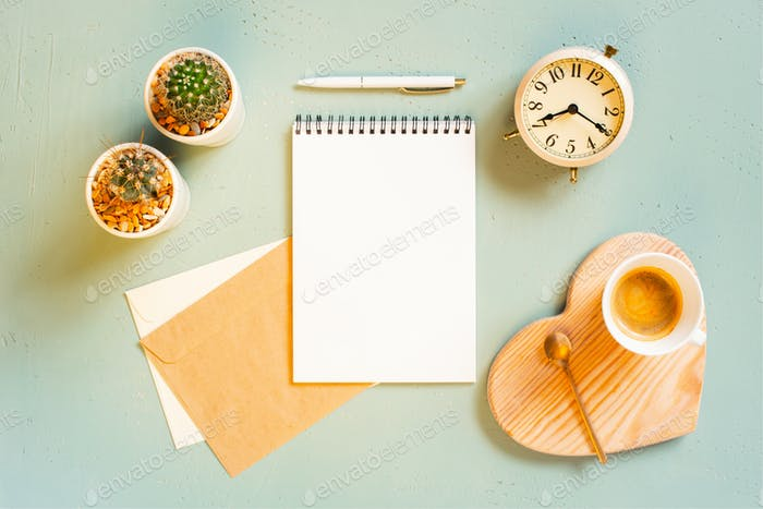 Sunny Morning Background with Coffee and Notepad